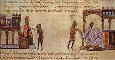Simeon I of Bulgaria sending envoys to the Fatimid Caliph Ubayd Allah al-Mahdi. Medieval Manuscript, Illuminated Manuscript, Ancient History, Art History, Abbasid Caliphate, Allah, The Siege, Dark Ages, Byzantine
