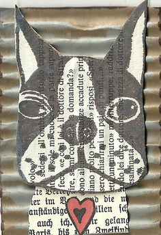 """Fussy Face"" by Joy Northrop (artist trading card collaged with rubber stamped image of Boston Terrier)"