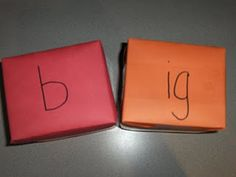 giant sight word dice; she wrapped two kleenex boxes in construction paper and wrote consonants on the red box and word family chunks on the orange box (ig, at, op, og, it, an); throw the dice, make a word and sound it out.
