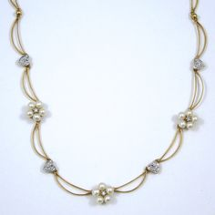 Pearl and Diamond Necklace. Set in 14K Yellow Gold.  - $600.00