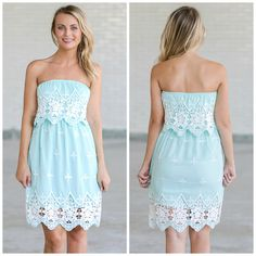 This strapless sky blue dress has contrasting embroidered designs on it!  http://ss1.us/a/wpPKmsXx
