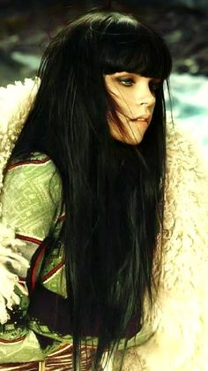 Long Hair With Bangs, the dark color is beautiful too:)