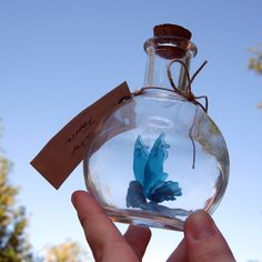 Fairy Bottle - Dewdrop Faerie, Light Blue with Blue Water wings MADE TO ORDER. $35.00, via Etsy.