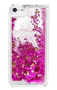 Pink Star Glitter Waterfall Phone Case