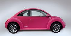 ❦ Volkswagen Beetle Barbie is decked-up in pink! The VW Beetle, is finished in a retina-searing hot pink paint job and is decorated with strategically-placed Barbie logos.