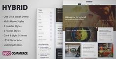 Download and review of Hybrid - Clean & Modern WordPress Blog Theme, one of the best Themeforest Magazine & Blogs themes