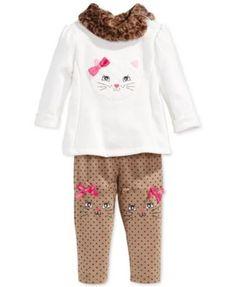 Nannette Baby Girls' 2-Piece Kitten Top & Leggings Set