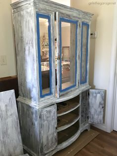 Goodwill antique china cabinet makeover with Chalk Paint and shiplap for a fresh farmhouse look - DIY tutorial by Girl in the Garage Refinished China Cabinet, Farmhouse China Cabinet, China Cabinet Redo, Antique China Cabinets, Painted China Cabinets, Painted Hutch, Pine Cabinets, Cabinet Decor, China Cabinet Makeovers