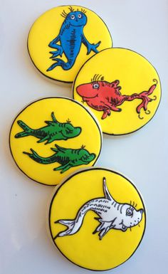 1 Dozen  - Dr. Seuss One Fish, Two Fish, Red Fish, Blue Fish Cookies. $36.00, via Etsy.
