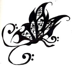 Butterfly music tattoo