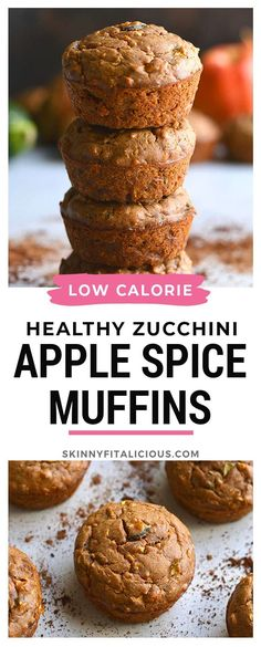 Healthy Zucchini Apple Spice Muffins is a low calorie muffin recipe made flourless. #healthy #zucchini #muffin #apple #lowcalorie #lowcarb #glutenfree #flourless #paleo #low #calorie Low Calorie Muffins, Healthy Low Calorie Meals, Healthy Muffin Recipes, Healthy Gluten Free Recipes, Healthy Muffins, Low Calorie Recipes, Healthy Desserts, Healthy Cooking, Whole Food Recipes
