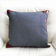 The Pillow/Cushion is made of a Striped denim and leater The Yarn-dyed Denim is made of 100% cotton    Approx. Dimensions: Width(wide) :20/50cm