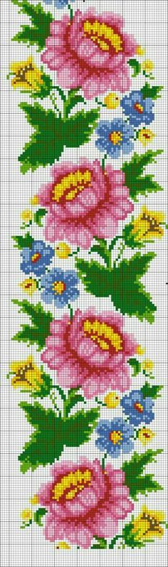 How to Crochet Wave Fan Edging Border Stitch - Crochet Ideas Cross Stitch Rose, Cross Stitch Borders, Modern Cross Stitch Patterns, Cross Patterns, Cross Stitch Flowers, Loom Patterns, Cross Stitch Designs, Cross Stitching, Cross Stitch Embroidery