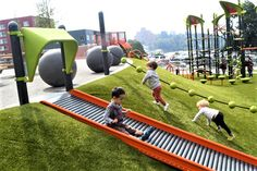 New Yesler Terrace Park Playground Will Delight Your Kids for Hours Kids Indoor Playground, Park Playground, Playground Design, Children Playground, Playground Ideas, Cool Playgrounds, Bethnal Green, The Plan, Kids Play Area
