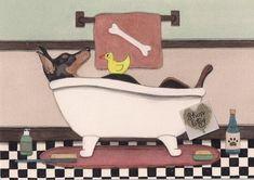 Doberman Pinscher Blue, Doberman Dogs, I Love Dogs, Cute Dogs, Dog House With Porch, Black Pomeranian, Painting Bathtub, Folk Art, Art Prints
