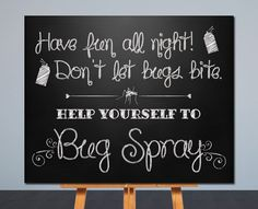 10 outside the box ideas for your outdoor wedding weddings wedding bug spray sign printable wedding sign chalkboard sign card table junglespirit Gallery