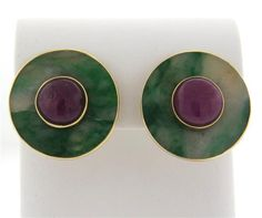 Seaman Schepps Gold Jade Ruby Earrings Featured in our upcoming auction on September Ruby Earrings, Simple Earrings, Jade, September, Gemstone Rings, Auction, Gemstones, Color, Jewelry