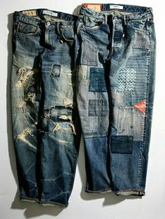 Patched and repaired denim jeans. Mode Chic, Mode Style, Repair Jeans, Patching Jeans, Raw Denim, Denim Jeans, Patched Jeans Mens, Mode Jeans, Patchwork Jeans
