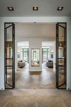 Guides to Choosing A Glass Door Design That'll Fit Your House - Haus - Double Sided Fireplace, Direct Vent Fireplace, Interior Decorating, Interior Design, Interior Modern, Interior Doors, Double Doors Interior, Design Interiors, Modern Interiors
