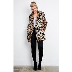 Glamorous Leopard Long Sleeve Fur Coat ($130) ❤ liked on Polyvore featuring outerwear, coats, multicolour, leopard fur coat, white coat, leopard print fur coat, colorful coat and colorful fur coat