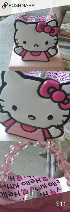 Hello Kitty Unique Purse Hello Kitty Unique purse, Tin w pink beaded sturdy handles, NWOT,  Sanrio & Tin Box Co, use as purse or smaller lunch box 💗💗💗 Sanrio/Tin Box Co Other