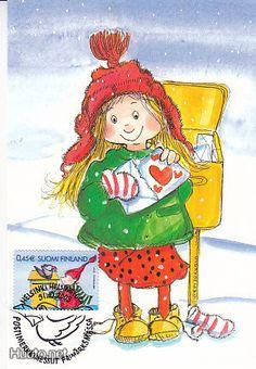 By Virpi Pekkala. Valentines Watercolor, Valentines Art, Vintage Valentines, Watercolor Cards, Christmas Mail, Christmas Images, Vintage Christmas, Art Fantaisiste, Art Mignon
