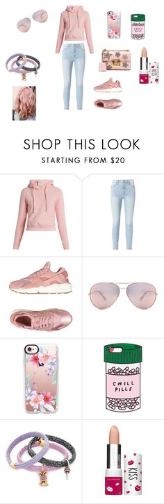 """""""pretty in pink"""" by sladams3 ❤ liked on Polyvore featuring Vetements, Frame, NIKE, Casetify, ban.do, Marc Jacobs, Clarins, Gucci and Masquerade"""