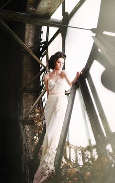 Embellished gown & bridal hair up do - Image byRebekah J Murray Photography - A bridal inspiration shoot inspired by the book 'A Little Princess'. Creating beauty in the face of sadness in a 1900s clock tower.