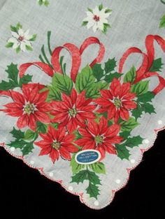 Vintage Hand Painted Red & White Poinsettia Hankie Christmas Handkerchief 932 #Holiday