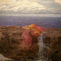 Emilio Longoni. Lo sfondo è di lapislazzuli (lui era povero ma ci credeva e si indebitò per trovare il materiale)