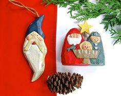 Pair (2) Rustic Country Primitive Christmas Decor • Nativity and Santa Ornament • Vintage Hand-Painted Wood-Look