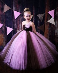Pink and Brown Couture Tutu Dress by krystalhylton on Etsy