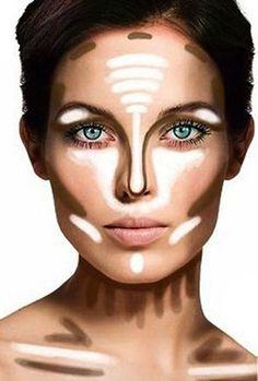 Contouring - highlight under eye & T, darken edges, under cheekbone, neck, nose, BLEND WELL