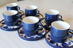 Melitta coffee cups x 6, Stockholm, cobalt blue, Skandi style pattern, Germany, 1960's by 20thCenturyParade on Etsy