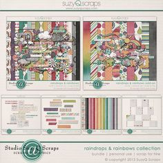 A colorful, rainbow & rainy day themed collection of digital scrapbooking supplies $18.71 for more info visit: http://shop.scrapbookgraphics.com/Raindrops-Rainbows-Collection-Digital-Scrapbook.html