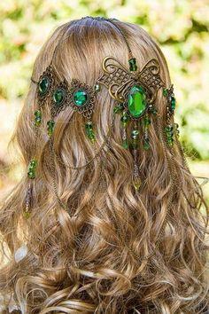 Headdresses Pagan Wicca Witch: Emerald Dreams stunning bronze and emerald-green handmade filigree bridal circlet.Headdresses Pagan Wicca Witch: Emerald Dreams stunning bronze and emerald-green handmade filigree bridal circlet. Circlet, Hair Jewelry, Jewellery, Hippie Jewelry, Yoga Jewelry, Tribal Jewelry, Headdress, Headpieces, Creations