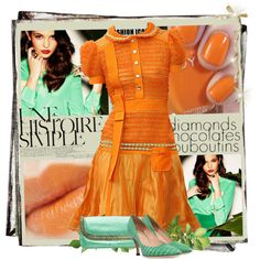 A fashion look from May 2013 featuring high heel pumps, handbag purse and mini dress. Browse and shop related looks. High Heel Pumps, Pumps Heels, Ballroom Dress, Professional Outfits, Orange Blossom, Orange Dress, Diva, Fashion Looks, Short Sleeve Dresses