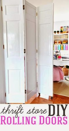 Home Improvement DIY project. How to make DIY rolling doors with thrift store bi… Sponsored Sponsored Home Improvement DIY project. How to make DIY rolling doors with thrift store bifold doors Door Dividers, Room Divider Doors, Diy Room Divider, Space Dividers, Hanging Room Dividers, Fabric Room Dividers, Sliding Room Dividers, Room Divider Screen, Room Divider Bookcase