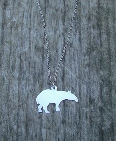 Tapir Necklace Hand Cut Pendant by RoxysCreations on Etsy