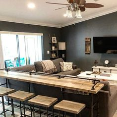 Rustic Gray Reclaimed Barn Wood Sofa Bar Table - 8 Foot - Restaurant Counter Community Cafe Coffee C Basement Living Rooms, Home Living Room, Living Room Decor, Teen Basement, Cozy Basement, Finished Basement Bars, Small Finished Basements, Finished Basement Designs, Man Cave Basement