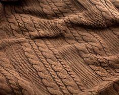Amazon.com: Viverano Organic Cotton Cable Knit Throw Blanket, 50 X 70, Super Soft (Earth Brown): Home & Kitchen