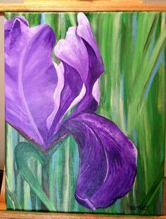 ORIGINAL Acrylic Painting 'Purple Iris' 16x20 on by ItsAWhitney, $150.00