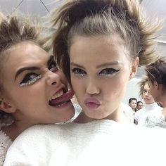 bahliss:  Cara x Lindsey backstage @ Chanel Haute Couture SS14