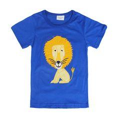 Sale 26% (5.99$) - 2015 New Lovely Lion Baby Children Boy Pure Cotton Short Sleeve T-shirt Top