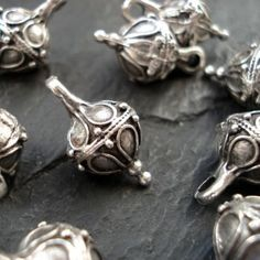 Antique Silver Round Bead Drop Pack of 4 Mykonos by TheBeadForager