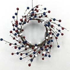 August Grove This stunning wreath can be on a front door, or on a wall in a living room, dining room, bedroom or above the fireplace mantle. Twig Wreath, Boxwood Wreath, Berry Wreath, Summer Door Wreaths, Mini Candles, Candle Rings, Metal Stars, Fireplace Mantle, Red White Blue