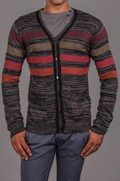 Zak Brand Taped Cardigan with Color Blocking Black Melange