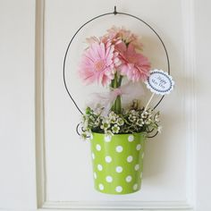May Day Flowers May Day Baskets and Pink Gerbera Daisies by Cathyswraps