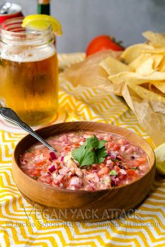Vegan Ceviche - A no-fish take on this delicious and refreshing appetizer! Perfect for Cinco de Mayo parties. Yummy Vegetable Recipes, Vegan Recipes, Vegan Appetizers, Appetizer Recipes, Seafood Recipes, Raw Vegan, Vegan Vegetarian, Vegan Food, Vegan Treats