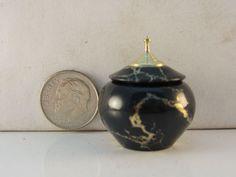Brian Hart, Hartwood Turning - black/gold tru-stone/brass lidded hollow vase